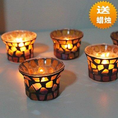 熱銷#歐式三色馬賽克玻璃小燭臺蠟燭杯 浪漫燭光晚餐酒吧聚會道具#燭臺#裝飾