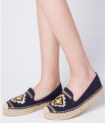 victoria【促銷大特賣】美國soludos新款時尚休閑編織底深藍方塊圖案刺繡帆布鞋 百搭休閑鞋 厚底鞋