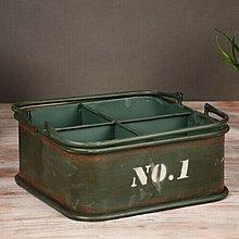 美式鄉村復古風格鐵質收納盒遙控器盒弧形多用筆盒多功能盒