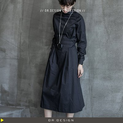 9/16新品►DR.DESIGN│DR31621-暗黑風 小立領 山本耀司風 氣質 顯瘦 綁帶 腰帶設計 薄料 長袖洋裝