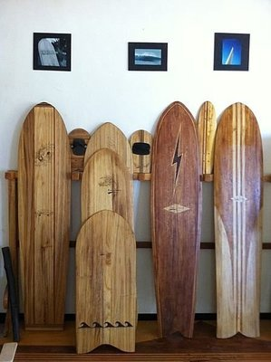 SLIDE SURF SHOP ~Green Sliding Alaia 手工衝浪板/藝術品/木頭/梧桐木