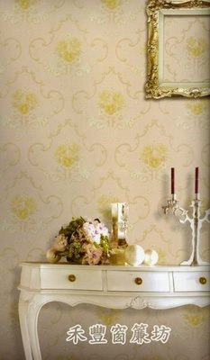 [禾豐窗簾坊]粉膚色華麗古典宮廷圖滕優質壁紙/壁紙裝潢施工