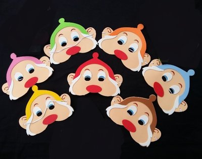【洋洋小品Q版EVA萬聖面具七個小矮人面具】萬聖節聖誕節面具化妝表演舞會派對造型角色扮演服裝道具恐怖面具舞會面具表演面具