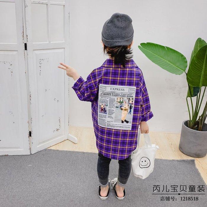 韓版童裝兒童春季新款中長款長袖襯衫女童歐美風春季長袖襯衫