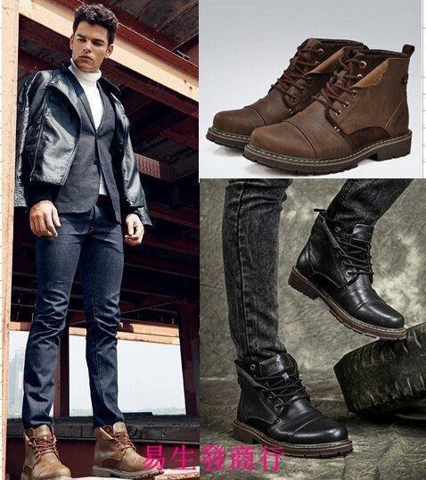 【易生發商行】冬季男士棉鞋馬丁靴男英倫真皮靴子男靴高幫工裝男鞋沙漠F6187