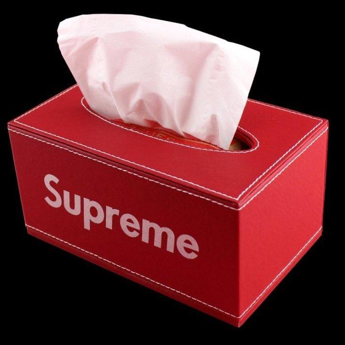 潮牌Supreme周邊贈品車載皮革創意抽取式紙巾盒帶