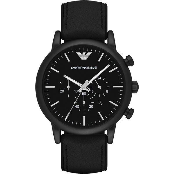 【金永珍珠寶鐘錶】Armani錶 原廠真品 電鍍霧黑 黑皮膠帶男錶 AR1970 日期 計時 情人生日禮物*