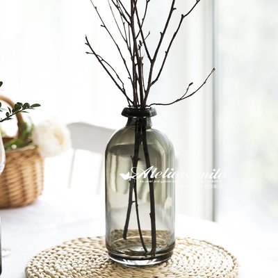 [ Atelier Smile ] 鄉村雜貨 北歐風 簡約灰色漸層玻璃花瓶 水培植物瓶  #  大款 (現+預)