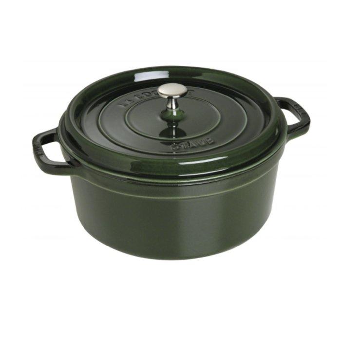 法國 Staub 28公分 圓鍋 鑄鐵鍋 寶石藍/羅勒綠/焦糖色/石榴色