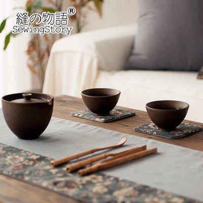 茶席桌旗隔熱文藝復古花朵雙面麻布茶墊 布藝茶布功夫茶杯墊