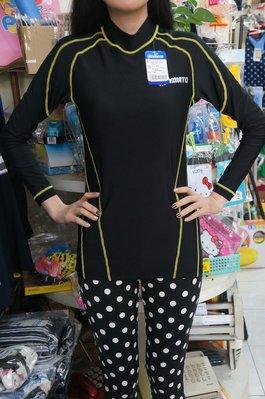 OLYMATE奧林匹克泳裝[男女通用]長袖泳衣-萊卡水母衣[M-3XL]簡約黑底黃線-防寒防磨-特價890元