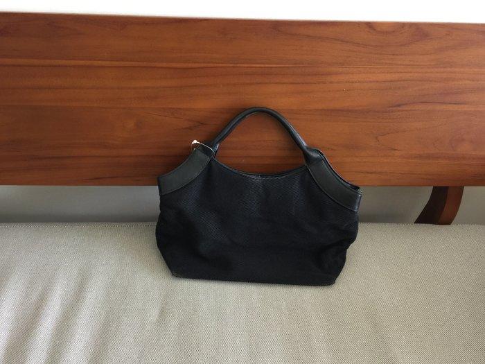 Esprit  簡約 手提包 皮質 帆布  (黑色) 33*31*11cm