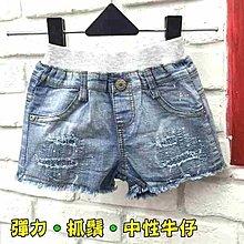 【班比納精品童裝】彈力補丁刷破滾邊潑漆牛仔小短褲-藍【 BF17060105】