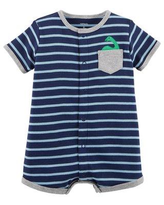 【安琪拉 美國童裝/生活小舖】Carter's 可愛藍色橫條小恐龍連身衣