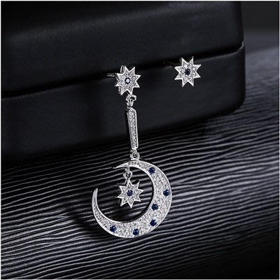 925純銀 耳 環 鑲鑽耳飾-璀璨星星月亮不對稱女飾品73qk18[獨家進口][巴黎精品]