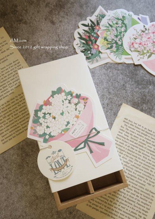 AM好時光【K79】清新花束禮品留言卡❤婚禮小物 情人節禮物 圓型吊牌 謝禮謝卡 餅乾牛皮紙包裝盒裝飾卡片 乾燥花禮盒卡