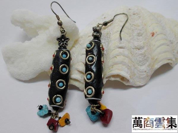[萬商雲集] 全新【民族風】孔雀石耳環 耳掛式 特惠價$390元