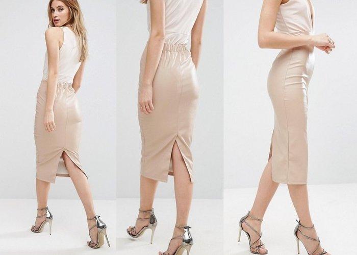 ◎美國代買◎ASOS彈性腰線仿皮革材質氣質個性甜心高腰背開叉筆型窄裙~歐美時尚~大尺碼