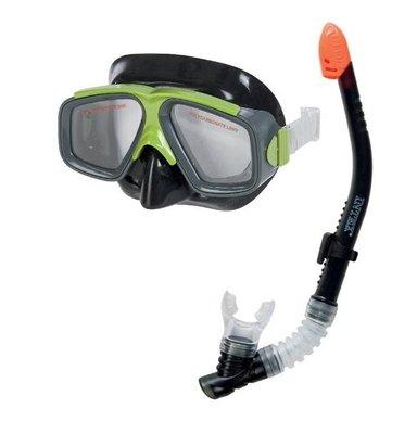 [衣林時尚] INTEX 潛水鏡呼吸管套裝組 (綠/黑) 呼吸管有防波浪功能 底部有排水閥 55949