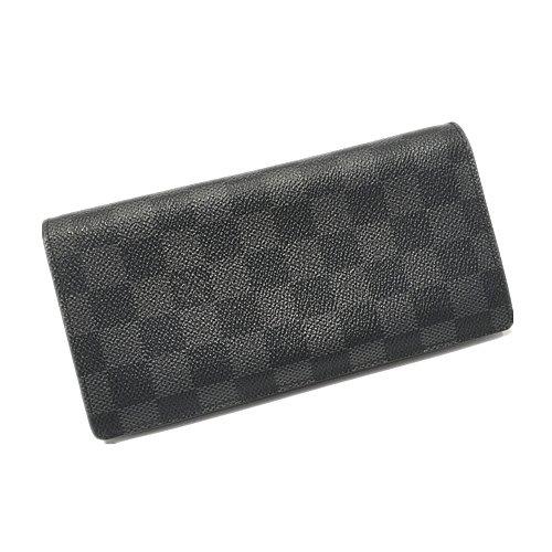 二手旗艦 LOUIS VUITTON N62665 黑灰棋盤格紋 12卡 拉鍊 對開長夾 (公益店)28504