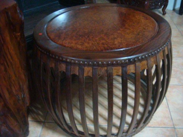 早期圓鼓形桌子餐桌.泡茶桌.酸枝雞翅木,榴板面,78x78x65cm高