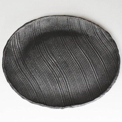 日本陶瓷【萬古燒】深棕色石紋橢圓盤 手工陶土 和風懷石餐盤 擺盤