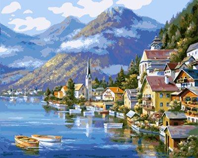 ArtLife藝術生活 DIY 彩繪 數字油畫 裝飾畫 【DTR113】 湖畔山城 50*65cm