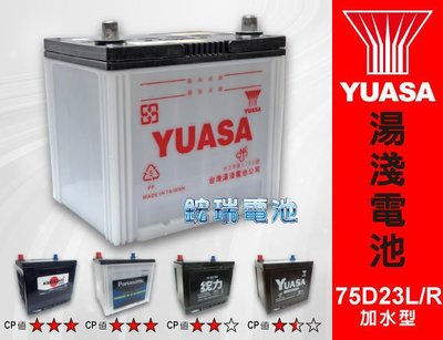 ☆鋐瑞汽車電池☆ YUASA 湯淺汽車電瓶 ( 加水型 75D23L ) 55D23L 80D23L GS 統力電池