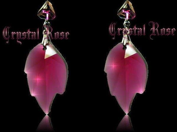 ※水晶玫瑰※ SWAROVSKI 大楓葉水晶吊墜 水晶耳針式耳環(DD090)
