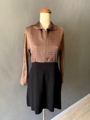 Join Hands 古銅絲質上衣拼接厚針織洋裝+皺摺上衣+MNG 罩衫, 客訂