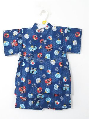 ✪胖達屋日貨✪褲款 120cm 深藍底 祭典 扇子花火 日本製 男 寶寶 兒童 和服 浴衣 甚平