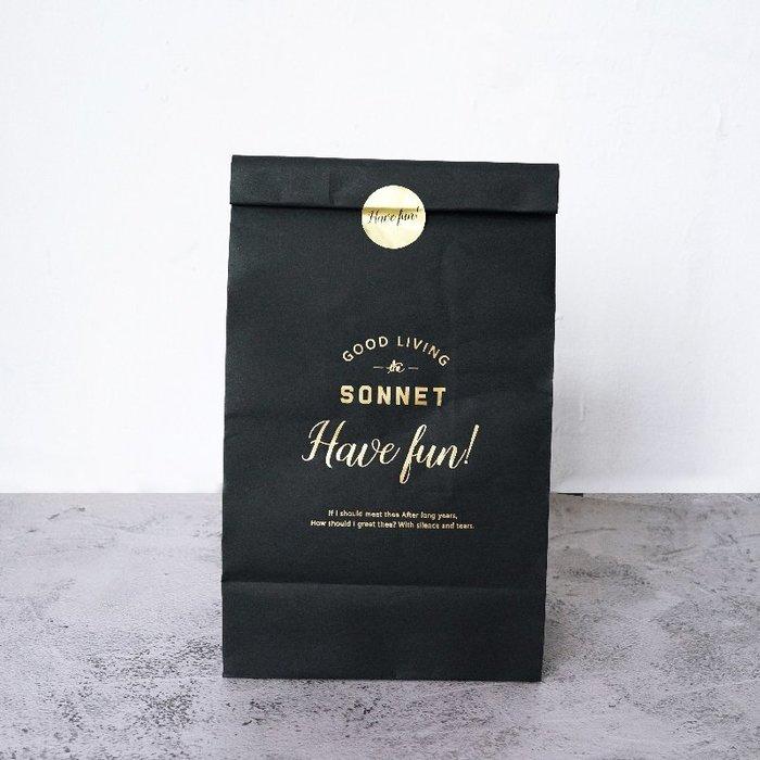 Amy烘焙網:5只附貼紙/ins風高質感奢華黑燙金手提袋黑色紙袋/烘焙包裝/禮品包裝袋/領帶包裝