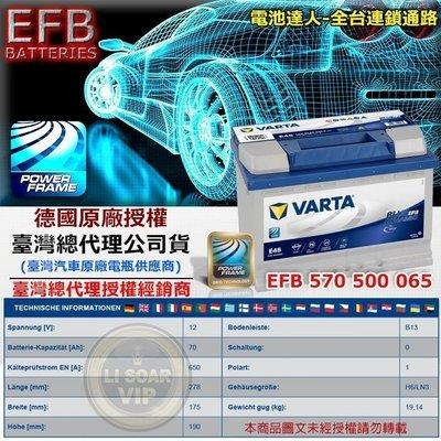 新莊【電池達人】VARTA E45 EFB 70AH LN3 德國進口 華達 汽車電池 福斯 VW AUDI A3 電瓶