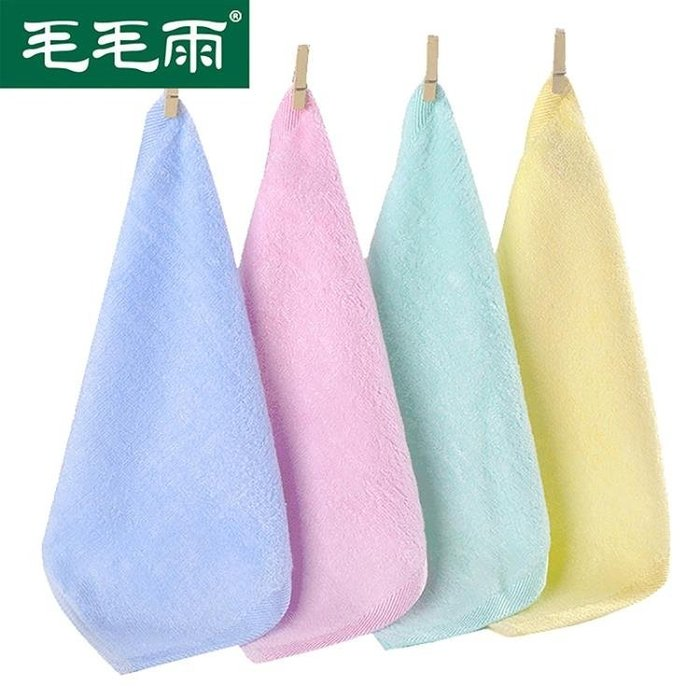 8條裝毛毛雨竹漿纖維小毛巾方巾洗臉潔面巾幼兒園兒童毛巾套裝