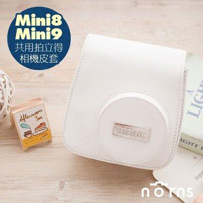 Norns  【Mini8 Mini9富士原廠銀標皮套- 白色】mini8 9拍立得相機包  附背帶