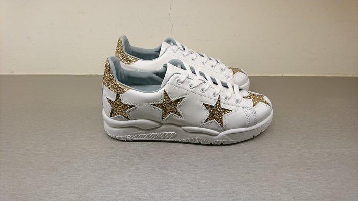[全新真品代購-S/S18 SALE!] CHIARA FERRAGNI 金色亮粉星星 白鞋