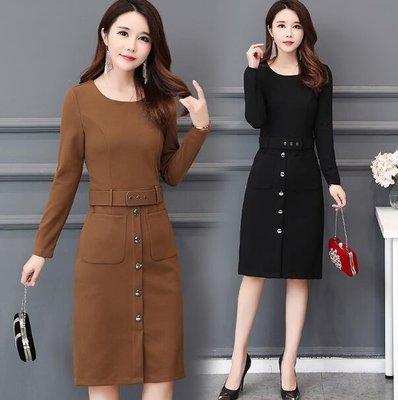 長袖洋裝 女裝長袖大尺碼L-5XL碼 時尚氣質包臀裙 一步裙 修身顯瘦打底連身裙—莎芭