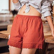 TRUDY日本專櫃夏季防走光安全褲女蕾絲花邊家居睡褲亞麻內搭寬松學生外穿打底褲