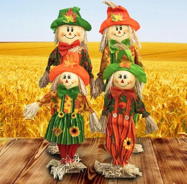 聖誕節裝飾品 萬聖節裝飾商場酒吧KTV站立南瓜稻草人擺件恐怖可愛田園場景布置—莎芭