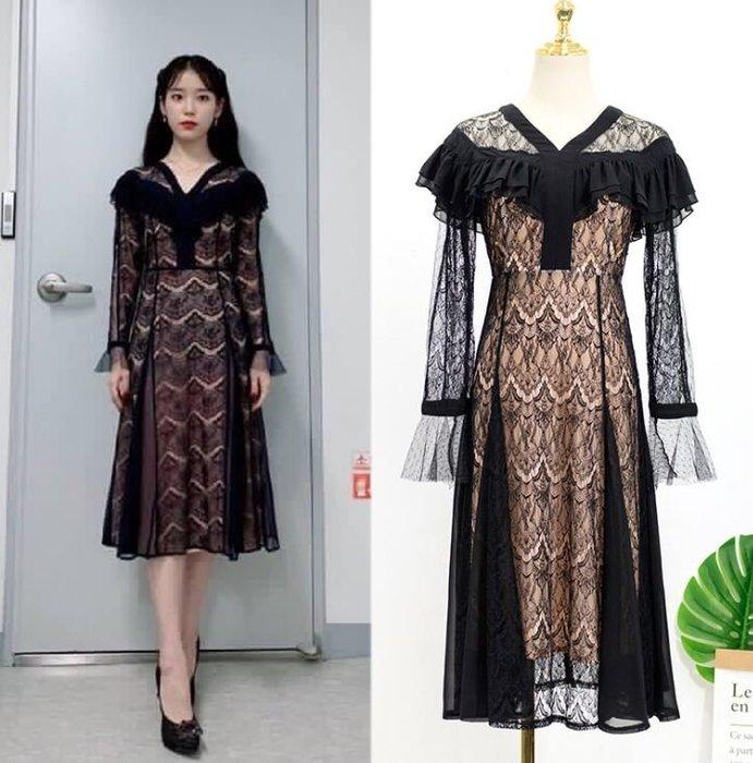 預購-韓劇同款德魯納酒店IU同款李知恩同款黑色蕾絲連身裙法式小眾長袖裙子女