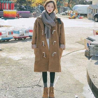長版大衣-呢子大衣中長款秋冬裝新款韓版寬松學生連帽牛角扣毛呢外套女