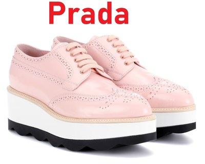 Prada 歐洲精品  oxford 增高鞋 厚底 牛津鞋 羅漢鞋 和尚鞋 厚底鞋 休閒鞋 -- 粉色