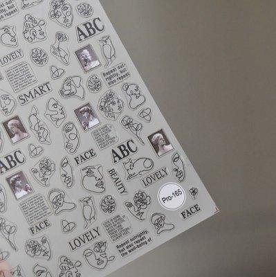 艾薇 Ivy's Nail美甲批發╭*5D浮雕美甲貼紙 Pro-165 肖像素描 黑 指甲貼紙 日韓人氣立體貼紙
