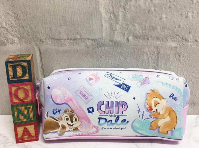 【Dona日貨】日本正版 迪士尼 花栗鼠奇奇和蒂蒂講電話 雙層筆袋/小物包/化妝包 C13