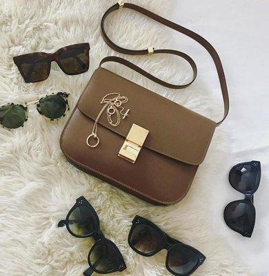 最終特價】Celine 專櫃真品 Box 中款肩背包 189173 棕色 焦糖色