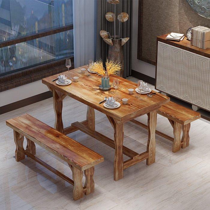 降價大促-碳化木桌椅小吃店快餐飯店桌椅戶外陽台仿古實木面館快餐燒烤桌凳WY