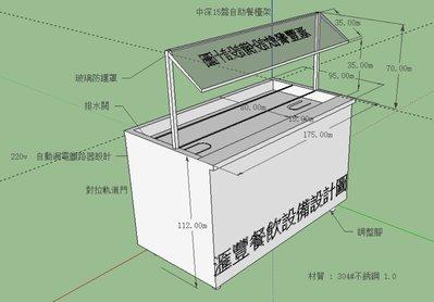 滙豐餐飲設備~全新~訂製不銹鋼(厚)板溫控式中深12盤/15盤自助餐檯架/依客戶設計圖面,以需求規格報價為凖