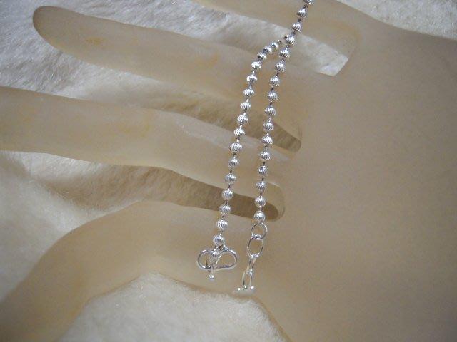 ※水晶玫瑰※ 990純銀絲紋圓珠手鏈(RD113)