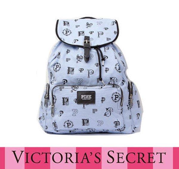victoria s secret 維多利亞的秘密 後背包/書包/旅行背包客 牛仔布 天空藍【現貨免運】↗小夫妻精品↖