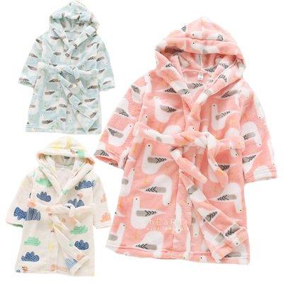 【可愛村】可愛印花連帽加厚絨毛綁帶睡袍浴袍 兒童睡袍 兒童睡衣 兒童浴袍
